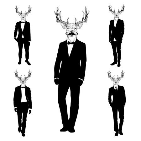 deer head: Men with deer heads