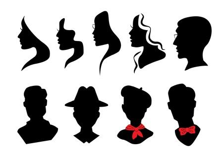 monochroom: Hoofden silhouetten