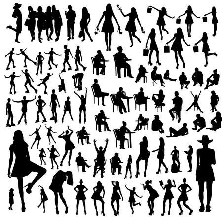 Set van mensen silhouetten Stock Illustratie