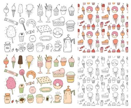 cafe bombon: Conjunto de los dulces Vectores