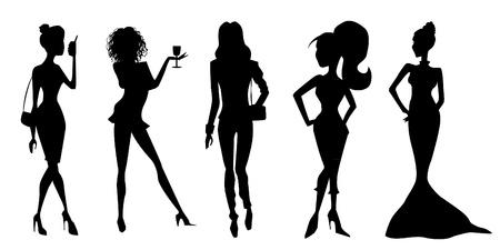 hair do: Elegant women silhouettes