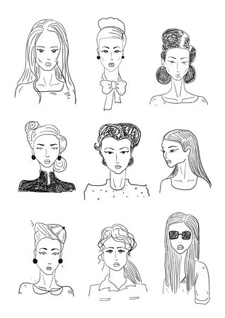 simple girl: Woman sketchy portraits