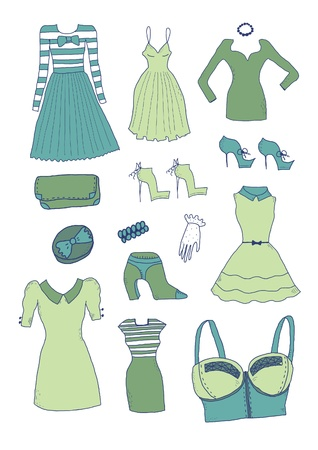 Women clothes and accessories Vector