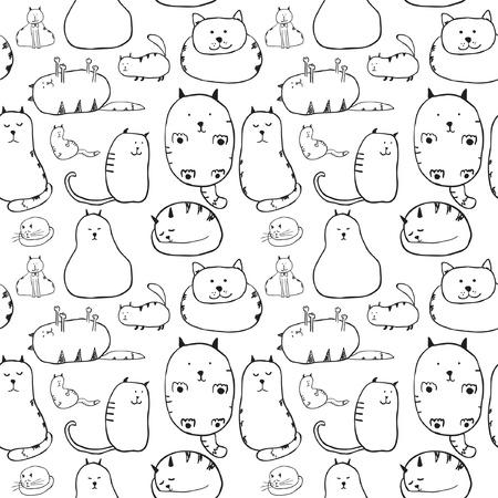 blanco: Gatos Textura inconsútil Vectores