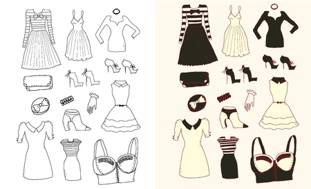 Women fashion clothes and accessories Vector