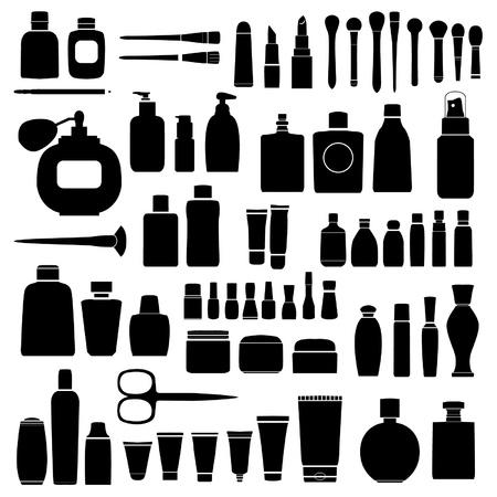 Cosmetica silhouetten Stock Illustratie