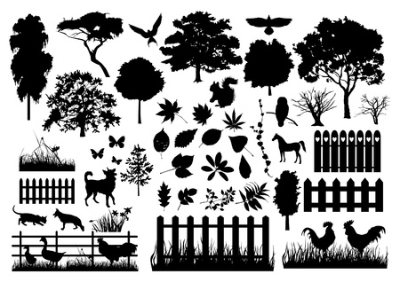 rural land: Farm silhouettes Illustration