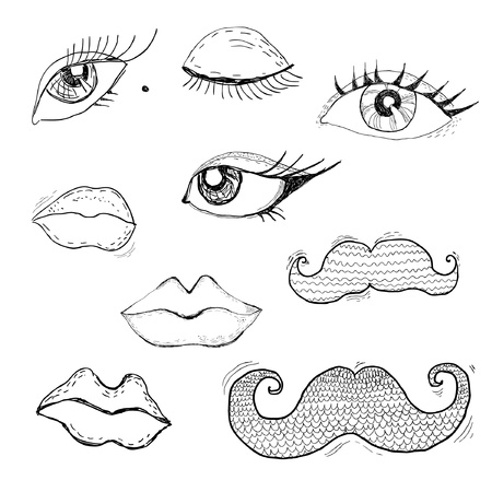 Cartoon eyes, lips and mustache Vector
