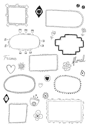 Hand drawn floral frames Stock Illustratie