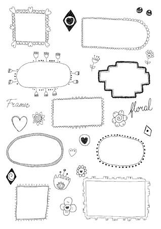 Hand drawn floral frames Ilustrace