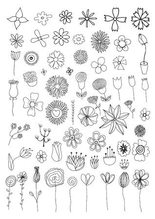 Set of flower doodles Illustration