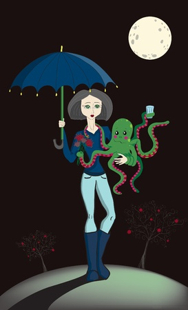 Girl with Octopus Vector