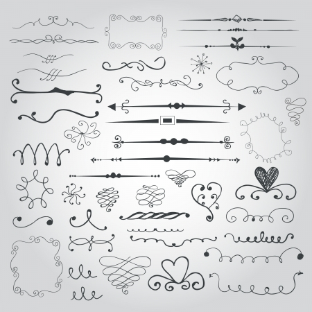 ornamental scroll: Doodle set