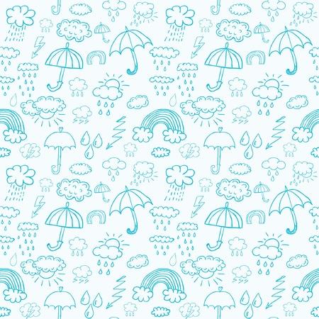 weather symbols: Blue weather symbols seamless pattern Illustration