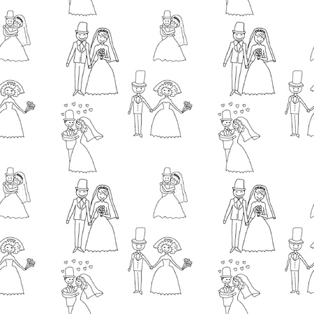 Groom and bride seamless pattern Vector