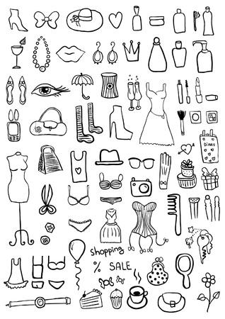Vrouw Accessoires Stock Illustratie