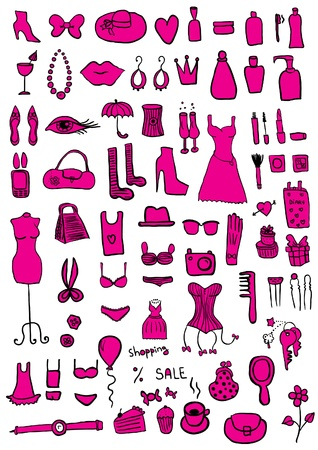 Pink Woman Accessories Vector