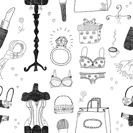 underclothing: Women accessories seamless pattern Illustration