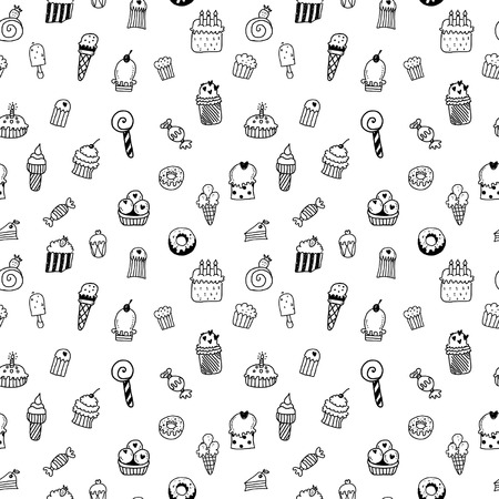 candy floss: Sweets seamless pattern