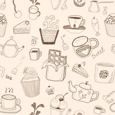 hand jam: Desserts seamless pattern Illustration