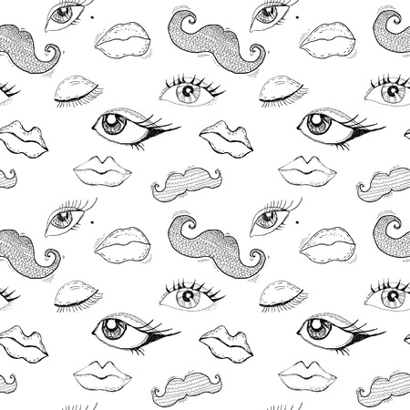 Cartoon eyes, lips and mustache seamless pattern Vector