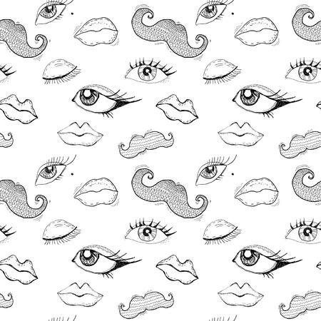 Cartoon eyes, lips and mustache seamless pattern Stock Vector - 22494424