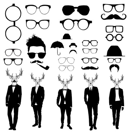 sir: Set of glasses and men with deer heads
