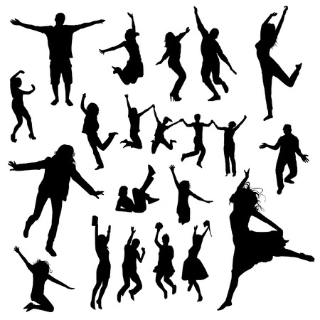 exaltation: Jumping people silhouettes Illustration