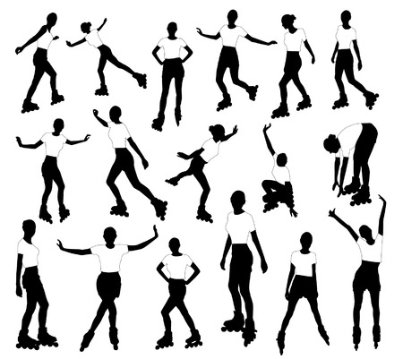 active life: Silhouettes of roller girl
