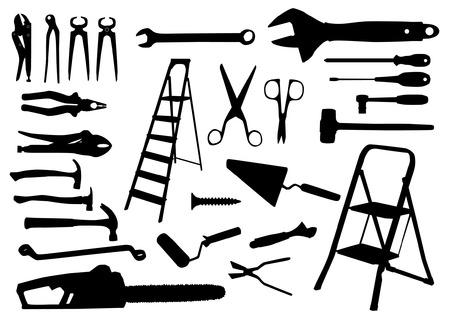 herramientas de mecánica: Siluetas Herramientas Vectores