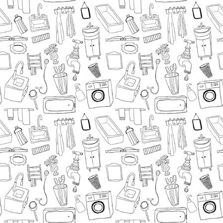 Bathroom objects seamless pattern Illustration