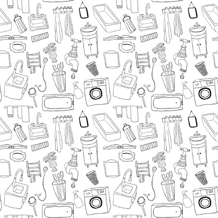 Badkamer objecten naadloos patroon