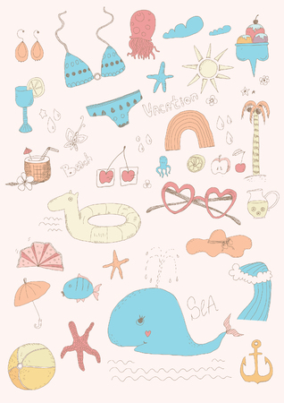 Beach set Vector