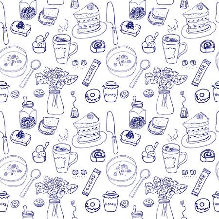 sugar spoon: Breakfast seamless pattern