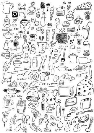 kuchnia: Ikony żywności Ilustracja