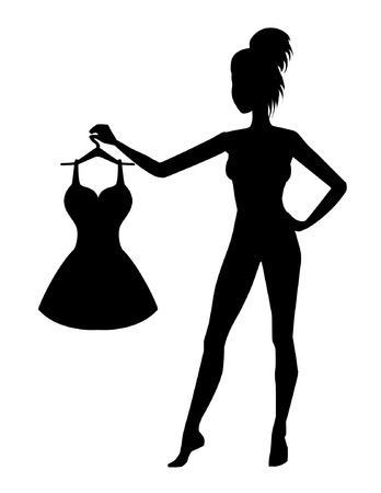 Girl with dress silhouette Stock Vector - 22586431