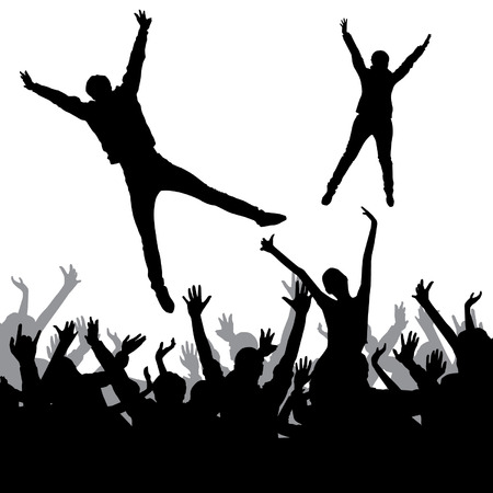 waving hand: Jumping crowd Illustration