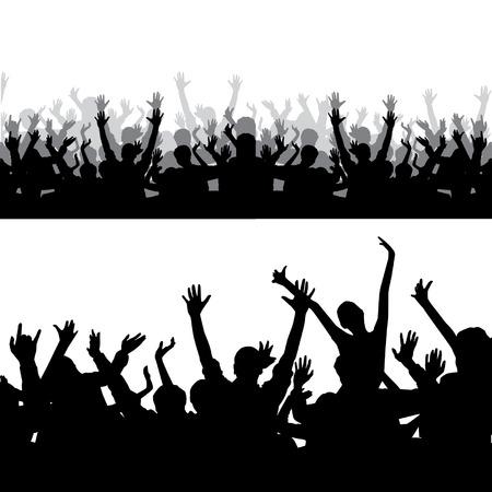 spectators: Silueta Multitud Vectores