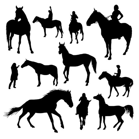 riding horse: Set of vector horses silhouettes