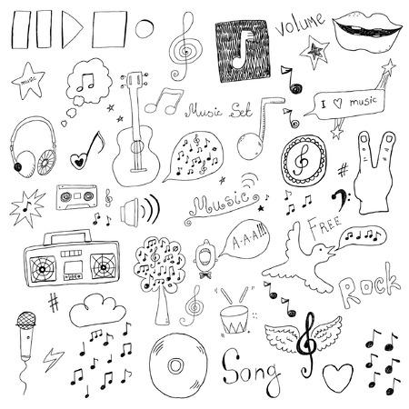 Collectie van muziek tekenen