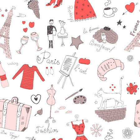 French seamless pattern Vector