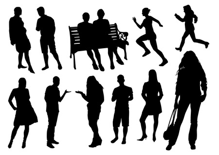 silhouette crowd: People silhouettes