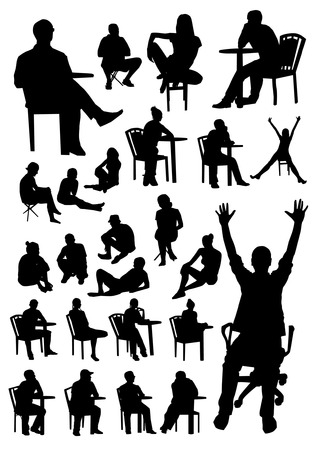 sitting on floor: Sitting people silhouettes Illustration