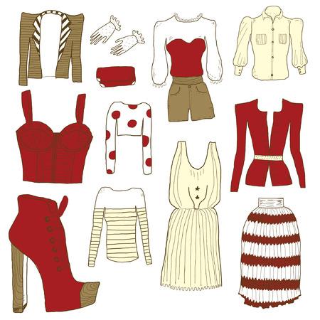 jeans skirt: Women clothes Illustration