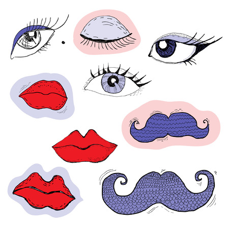 Colored cartoon eyes, lips and mustache Vector