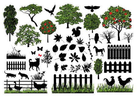grass silhouette: Farm silhouettes Illustration