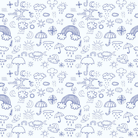 Weather symbols seamless pattern Vector