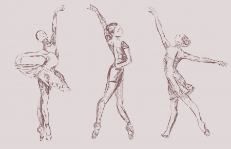 poise: Los bailarines de ballet Vectores