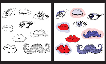 Cartoon eyes, lips and mustache Stock Vector - 22544394