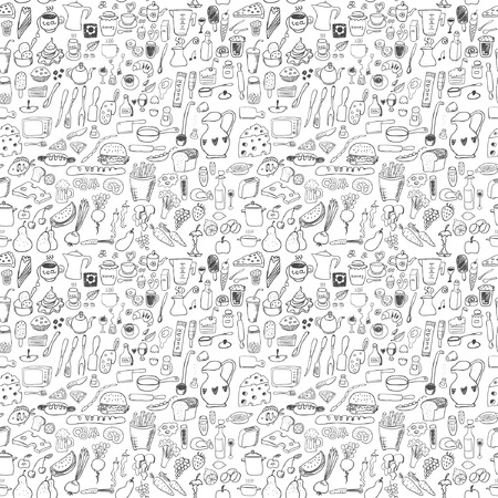 egg sandwich: Food icons seamless pattern